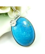 Turquoise Howlite Gemstone Sterling Flower Pendant Necklace - $45.00