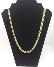 "Men's Cuban link Curb Chain Necklace 24"" 14k Gold Plated - $28.99"