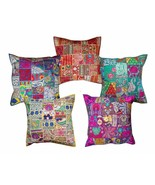 Multicolor Sari Patchwork Seating Ethnic Indian Large Square set of 5 - $86.06