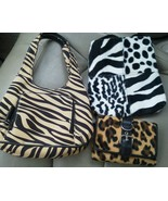 Set of 3 Zebra Leopard Print Purse Wallet Hand Bag Wallet Billfold Never... - $22.51