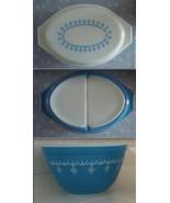 Pyrex Blue Snowflake Garland divided dish 063 lid w mixer 401 - $10.00