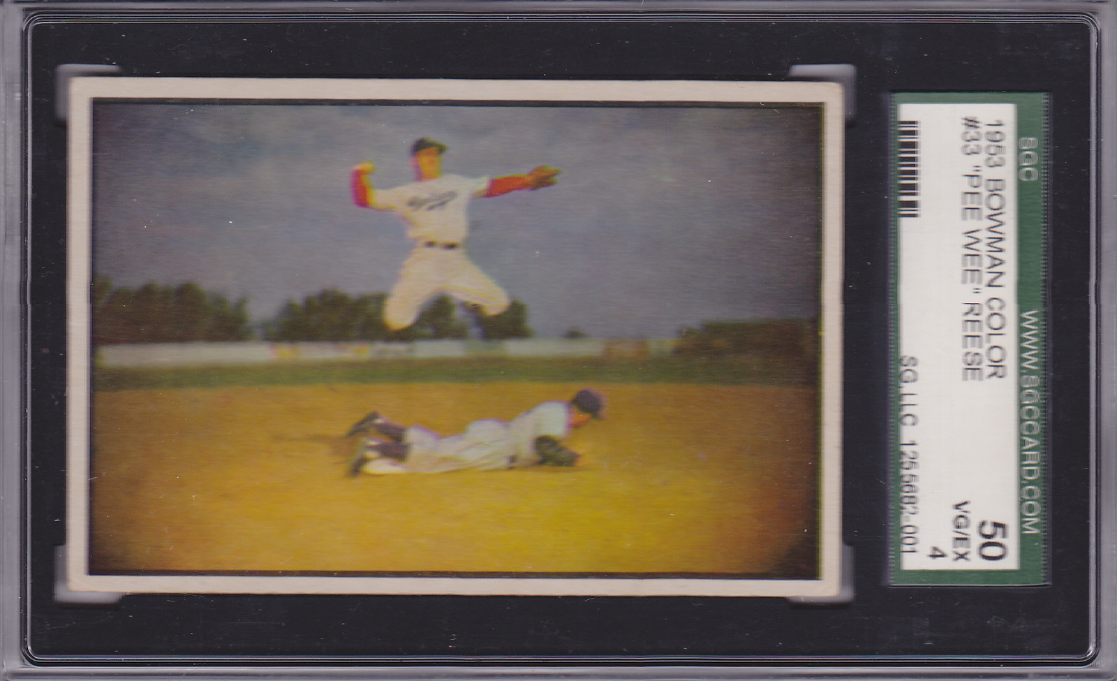 Primary image for Pee Wee Reese 1953 Bowman (Color) #33 Baseball Card SGC 50 VG/EX 4