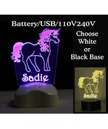 Personalized Unicorn Lamp Night light Battery/USB/100V or design your ow... - $33.00