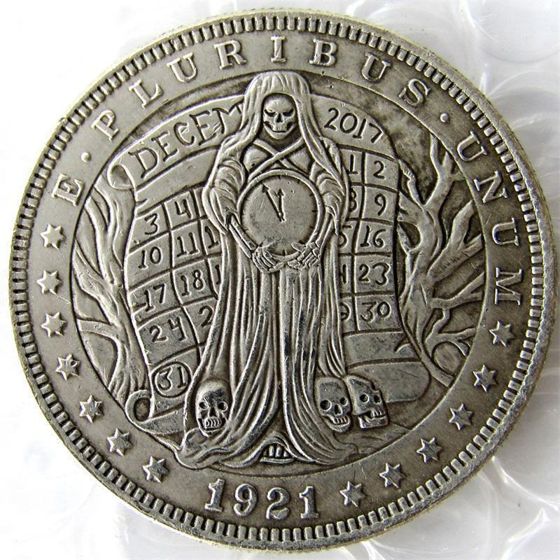 Primary image for Hobo Nickel 1921 Morgan Dollar With A Woman And Clock skull zombie skeleton Hand