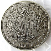 Hobo Nickel 1921 Morgan Dollar With A Woman And Clock skull zombie skele... - $11.99