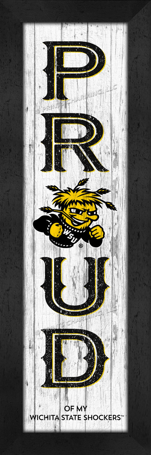 "Wichita State Shockers ""Loyal"" or ""Proud""- 8x24 Wood-Textured Look Framed Prints"
