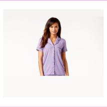 Alfani Short-Sleeve Notch-Collar Pajama Top, Sheer Lilac Small - $4.40