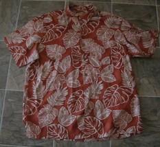 Caribbean rust Silk blend Hawaiian-Short-Sleeve-Casual-Shirts sz.XL - $4.99