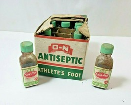 Vintage Store BOX Containing 10 NOS Bottles of N-O Antiseptic Athletes Foot USA - $42.07
