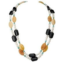 Multi-Strand Cultured Freshwater Pearl Necklace with Stones & 14k Beads ... - $85.03