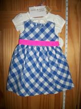 Carter Baby Clothes 0M-3M Newborn Girl Sweater Outfit 3 Piece Blue Checker Dress - $18.99