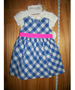 Carter Baby Clothes 0M-3M Newborn Girl Sweater Outfit 3 Piece Blue Check... - $18.99