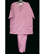 Expo Uniforms Rose 2 Pc Set Top Pants V Neck 3 Pocket Elastic Drawstring... - $19.77