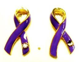 Purple Ribbon Austrian Crystal Earrings Pierced Post Cancer Awareness Cause New - $10.75