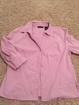 Apostrophe Rose Pink Lilac Mauve Lavender 3/4 Sleeve Button Down Top 16 ... - $10.00