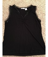 La Redoute Black Stretch Sleeveless Ruched Beaded Top Chiffon Trim Sz 14... - $14.01