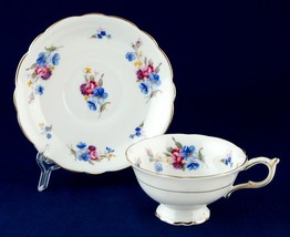 Paragon Fine China Cup & Saucer Roses & Blue Flowers 3047 - $18.00
