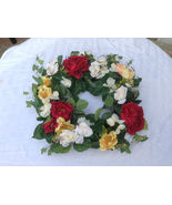 "20"" Rose hydrangea wreath yellow, white, red, green Artificial flower - $21.99"