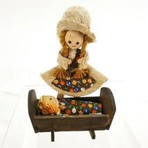 Handmade Vintage Mommy & Baby Doll Figurine Wood Cradle Burlap Flowers F... - $14.95