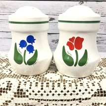Nina Salt And Pepper Set 1983 CHD Retro Floral Design Match Anchor Hocki... - $34.65
