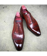 Men's Handmade Formal Shoes, Genuine Leather Lace up Dress Shoes Custom ... - $159.99+