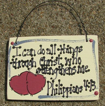 Crafts Wooden Scripture Sign 4001  I can do all things through Christ - $2.25