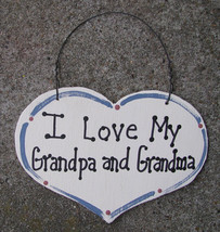 Wood Sign 1000GG  Large Heart I Love My Grandpa and Grandma - $1.95