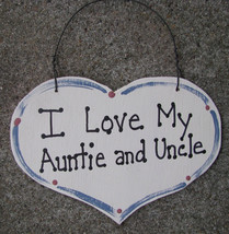 Wood Sign 1000AU Large Heart I Love My Auntie and Uncle - $1.95