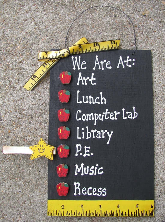 Teacher Gifts 2709A  - We are At : Blackboard with Apples Wood Sign