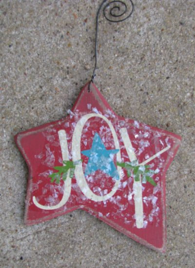 Wood Christmas Ornament  RJ5161 Joy Red Star Ornie