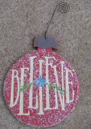 Wood Christmas Ornament  RB5154 Believe Red Bulb Ornie