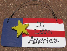10977ILA - I Love  America Wood Sign  - $1.95