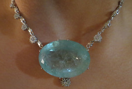 Gigantic Huge 188 ct aquamarine 1.7 ct diamond & 14k white gold necklace... - $45,999.99
