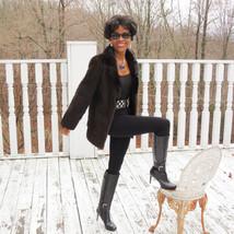 Mint Designer Sable brown black hue Mink Fur Coat jacket Stroller bolero... - $649.99