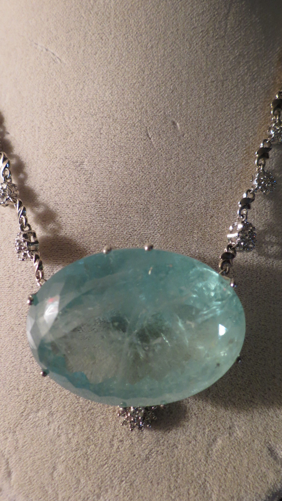 Gigantic Huge 188 ct aquamarine 1.7 ct diamond & 14k white gold necklace choker