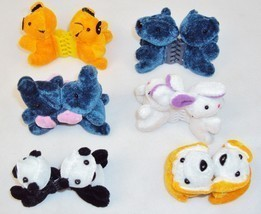Plush Animal Hair Clips w/Plastic Combs ~ Six Pairs Assorted Characters - $14.65