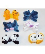 Plush Animal Hair Clips w/Plastic Combs ~ Six Pairs Assorted Characters - £10.51 GBP