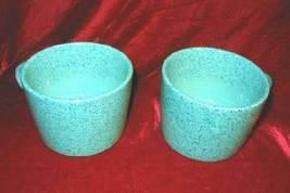 2 Retro Signature Stoneware Turquoise Ceramic Cups - $18.50