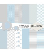 Baby Elephant Blue & Grey Paper Pack: Scrapbook Paper, PRINTED, 12 Sheets - $6.50