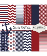 Classic Nautical red & Navy Paper Pack: Scrapbook Paper, PRINTED, 12 Sheets - $6.50
