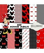 Minnie Mouse Inspired Scrapbook Papers Printed Papers 12 Sheets Red Minnie Mouse - $6.50