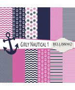 Girl Nautical Scrapbook Paper 12 Sheets Set 1 Printed Paper Pink Navy Paper - $6.50