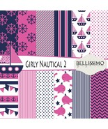 Girl Nautical Scrapbook Paper 12 Sheets Set 2 Printed Papers Pink Navy P... - $6.50