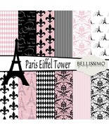 Paris Eiffel Tower Paper Pack: Scrapbook Paper, PRINTED, 12 Sheets - $6.50