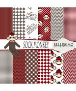 Sock Monkey Paper Pack: Scrapbook Paper, PRINTED, 12 Sheets - $6.50