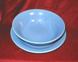 Baby Blue Salad Plate Soup Bowl Ceramic - $24.75