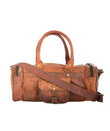 "22"" Leather Brown Casual Duffel Gym Bag Genuine Rustic Vintage - $100.51"