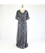 8 - Adam Lippes Dark Silver Patterned Silk $595 Maxi Length Dress NEW 04... - $175.00