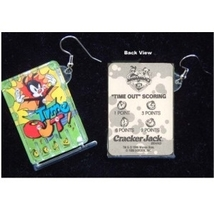 ANIMANIACS PINBALL GAME EARRINGS - Cracker Jack TIME OUT Jewelry - $6.97