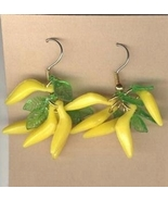 BANANA BUNCH EARRINGS - Funky Monkey Tropical Fruit Luau Jewelry - $6.97